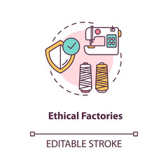 Ethical factories concept icon. Textile supplier. Zero waste manufacture. Sustainable production of material idea thin line illustration. Vector isolated outline RGB color drawing. Editable stroke