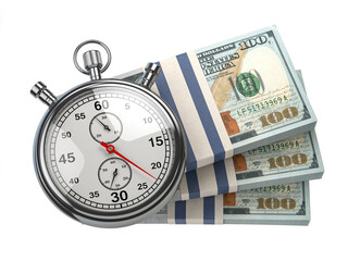 Stopwatch with packs of dollar isolated on white. Fast credit, financial and investments, time is money concept.