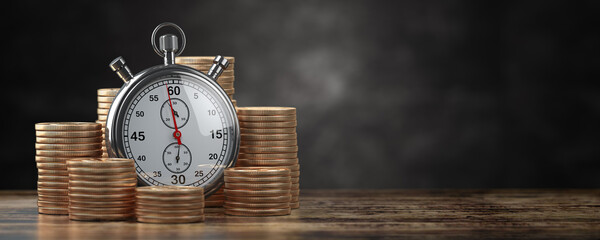 Time is money, deposit and inflation concept. Stack of gold coins with stopwatch on black background.
