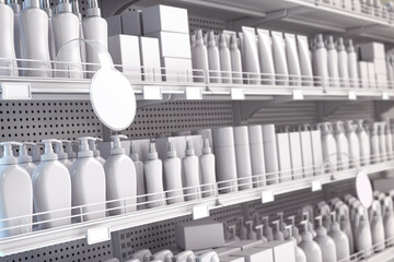 White supermarket shelf with cosmetics products, bottles, tubes, boxes, personal care products.