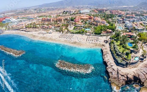 Wall mural Aerial view with El Duque beach at Costa Adeje, Tenerife, Canary Islands, Spain