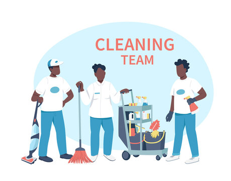 Housekeeping business flat color vector faceless characters