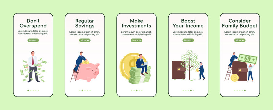 Becoming rich onboarding mobile app screen flat vector template