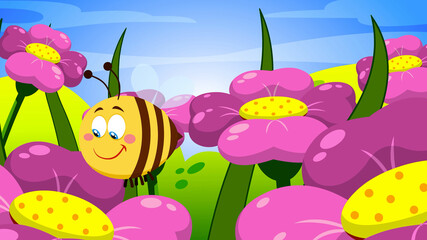 Cute Bee Cartoon Character Flying On Flowers. Raster Illustration With Background
