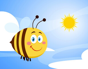 Smiling Cute Bee Cartoon Character Flying. Raster Illustration With Background