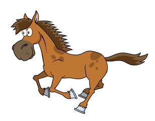 Horse Cartoon Character Running. Raster Illustration Isolated On White Background
