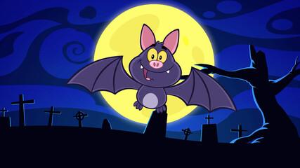 Happy Vampire Bat Cartoon Character Flying In Graveyard On Halloween. Raster Illustration With Background