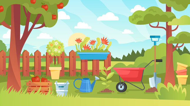 Bright colorful spring garden landscape with flowers and trees, a rustic wooden fence, wheelbarrow and watering can conceptual of the season, colored vector illustration