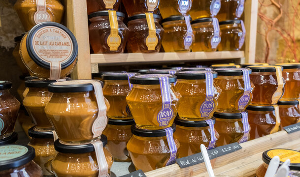 Lavender honey jars for sale at an Provence local production store. France