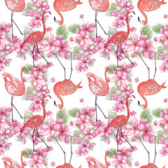 Seamless floral design with pink flowers and flamingo for background