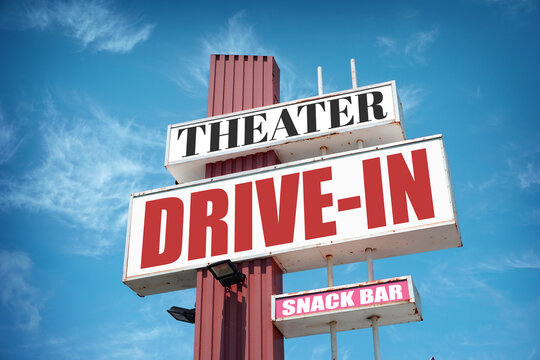 Aged and worn vintage drive-in theater sign