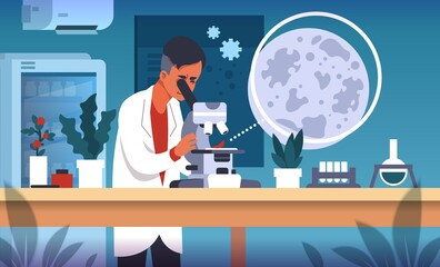 Scientist in lab. Cartoon concept of laboratory research, scientific experiment and medical data collection and analysis. Vector flat illustrations science smart technology researching background