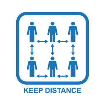 Healthcare infographic elements. Sign KEEP DISTANCE. Vector illustration.