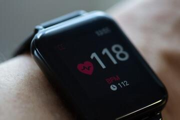 health sensor smart watch hand wearing. Belgorod , Russia - Jul, 21, 2020: