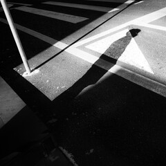 Black and white street photography with shadow of a person waiting to cross the street.