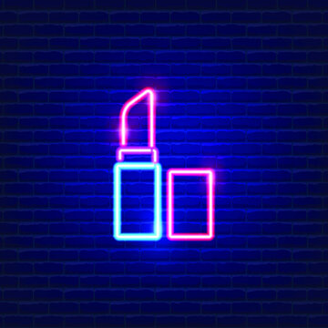 Cosmetic lipstick neon icon. Beauty products neon banner design. Cosmetic concept vector Illustration.