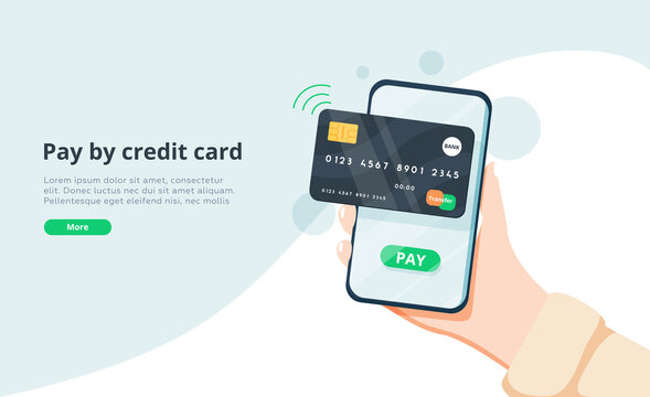 Pay by credit card via electronic wallet wirelessly on phone. New mobile banking app and e-payment vector illustration.