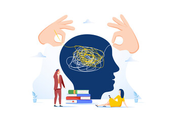 Vector illustration, unraveling difficult situations, brainstorming, social psychiatry concept, educational process.