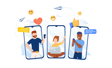 Vector illustration, communication phone, people and social networks. People communicate via social network, mobile talk