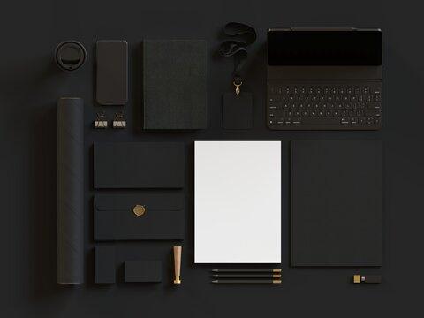 Black corporate identity mockup template with gold elements