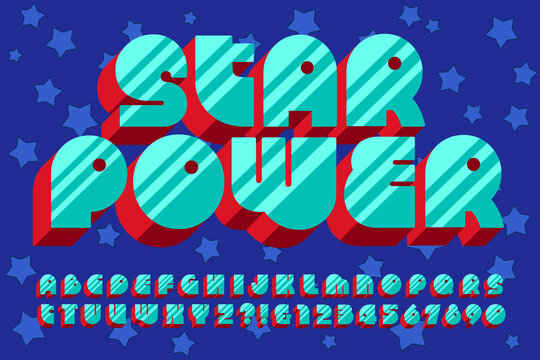 Vector Font Alphabet in a Fun and Groovy Vintage Style. This Bold Retro Lettering would Work Well in 1960s or 1970s Style Graphics, or for Kids Birthday Parties, Cards, Invitations, or Gift Wrap.