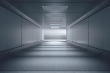 Futuristic gray interior hall with lattice.