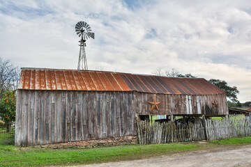 Round Top, Texas, United States of America - December 27, 2016.  Wooden barn in Round Top, TX.