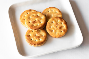 Peanut Butter Filled Crackers on a Plate
