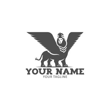 Winged bull with the head of the person logo. Character of Sumer mythology.vector illustration.