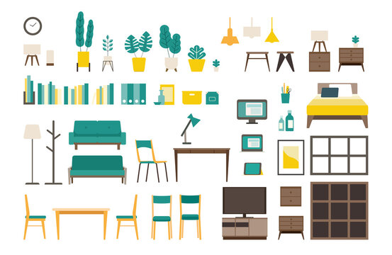 Set of vector interiors with furniture. Isolated modern flat vector illustrations of various interiors.