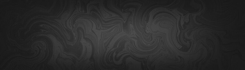 Black background with marbled texture pattern and dark monochrome gray colors, abstract marble swirls in liquid or fluid painting design