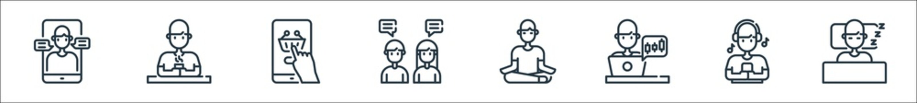 stay at home line icons. linear set. quality vector line set such as human sleeping, listening, trading, meditation, talking, online shopping, drinking.