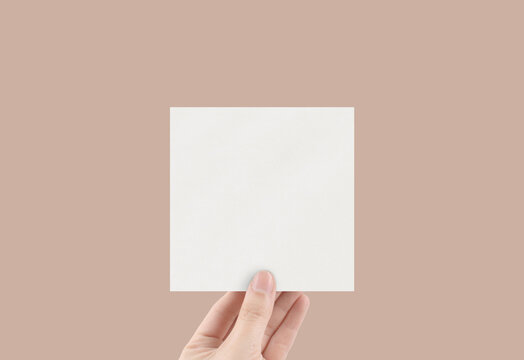 Stationery Mockup Sticker Mockup Square Paper Mockup with Hand Textured Blank Paper