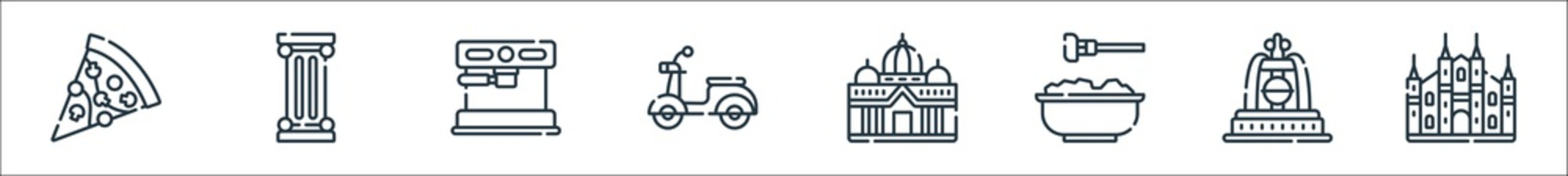 italy line icons. linear set. quality vector line set such as cathedral, fountain, pasta, basilic, scooter, coffee maker, pillar.