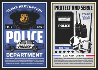 Foto auf Leinwand Texturen Police department serve and policing, law and justice vector design. Police officer uniform cap with badge, patrol car and handcuffs, baton, radio scanners and tactical anti riot shield posters