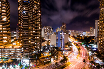 Busy Honolulu at Night long exposure