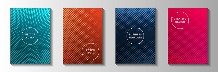 Futuristic point screen tone gradation cover page templates vector kit. Scientific notebook faded