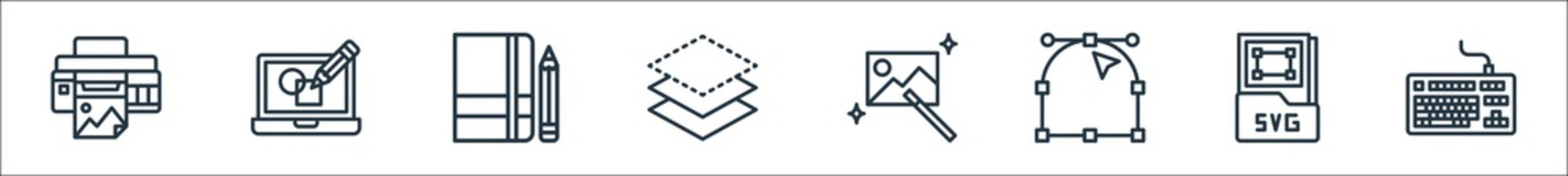graphic design line icons. linear set. quality vector line set such as keyboard, svg file, anchor point, magic wand, layer, sketchbook, de.