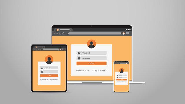 laptop tablet and smartphone screns cross platform application development adaptive user interface responsive web design horizontal vector illustration