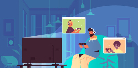 man playing video games on tv with mix race friends in web browser windows during virtual conference living room interior horizontal portrait vector illustration