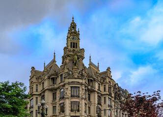 Porto, Portugal - May 29, 2018: Ornate neo-gothic facade of Edificio A Nacional in Praca da Liberdade or Liberty Square