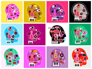 Fotorolgordijn Abstractie Art Human head shape design consisting with a different musical instruments. Set of 12 different musical heads. Various vector illustrations combined into one collage.