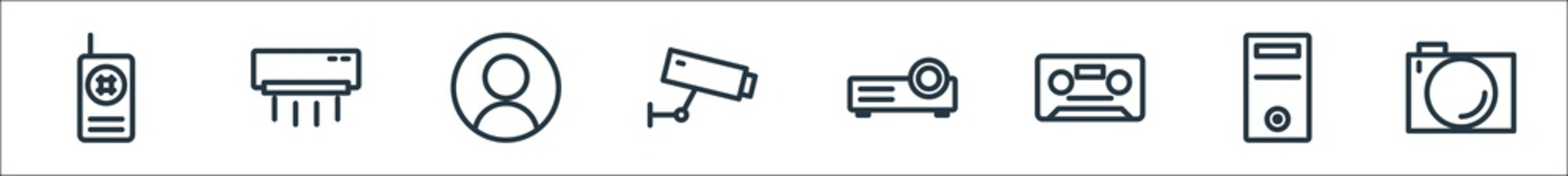 technology line icons. linear set. quality vector line set such as camera, cpu, cassette, video projection, cctv, account, air conditioning.