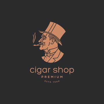 Cigar man logo
