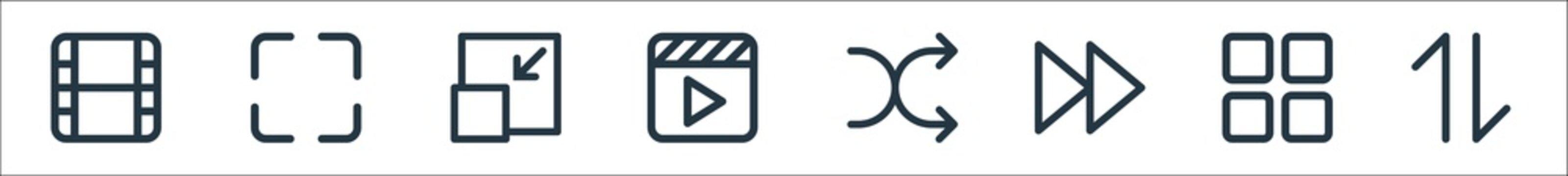 multimedia line icons. linear set. quality vector line set such as exchange, menu, forward, shuffle, video, minimize, lens.