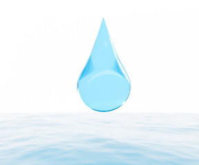 water drop isolated on white background dropping.3D illustration
