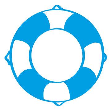 Handgezeichneter Rettungsring in blau
