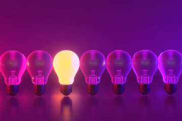 3D rendering of Bulbs, Teamwork, leadership, management and uniqueness concept.