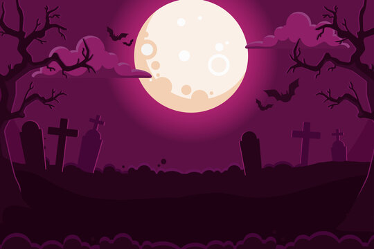 Happy halloween background.Spooky graveyard and haunted house at night . Horror moon, bats and graves .Vector illustration