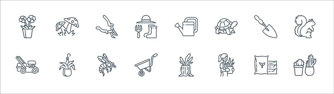 gardening line icons. linear set. quality vector line set such as cactus, gardener, wheelbarrow, mower, shovel, pruning shears, watering can, mushroom.